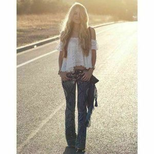 Free People Discharge Bali Flare Print Denim Jeans